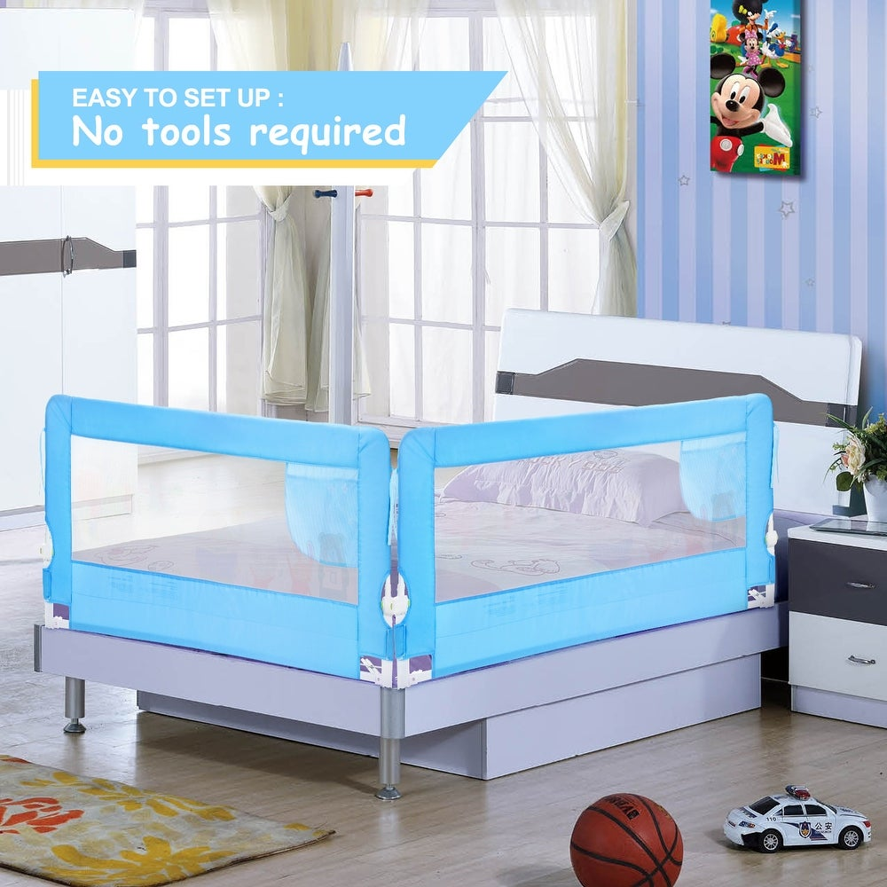 HK Swing Down Safety Bed Rails Hide Away(HA) Bedrail Assist Extra Long BedRails, Mesh Guard Rails for Convertible Crib