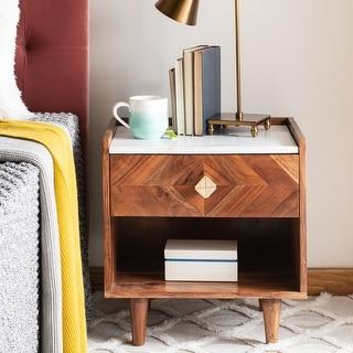 Link to SAFAVIEH Tahseen Parquet 1-Drawer 1-Shelf Nightstand Similar Items in Bedroom Furniture