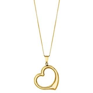 "Mcs Jewelry Inc  14 KARAT YELLOW GOLD OPEN HEART PENDANT NECKLACE (18"")"