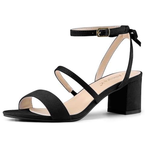 Women's Slingback Bow Ankle Strap Block Heels Sandals