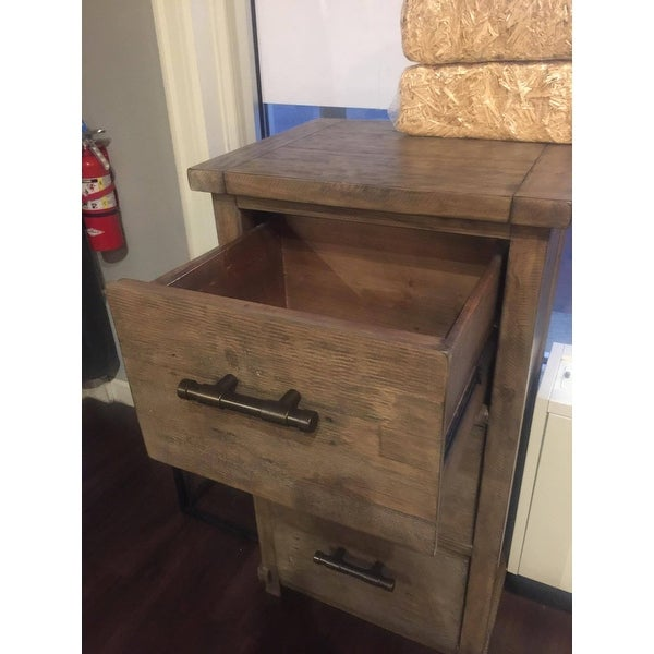 Shop Kasey Reclaimed Pine 3 Drawer Filing Cabinet By Kosas Home   On Sale    Free Shipping Today   Overstock.com   11949170