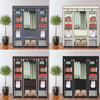 Portable Clothes Rack Closet with Cover and Hanging Rod