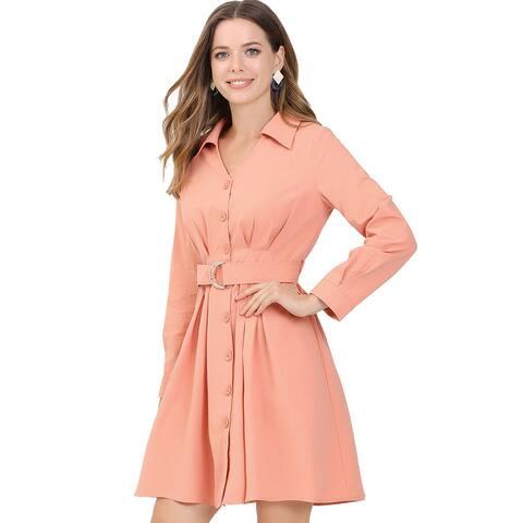 Allegra K Women's Cotton Turndown Collar V Neck Shirt Dress with Belt - Pink