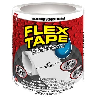 "Flex Seal TFSWHTR0405 Waterproof Repair Tape, White, 4"" x 5'"
