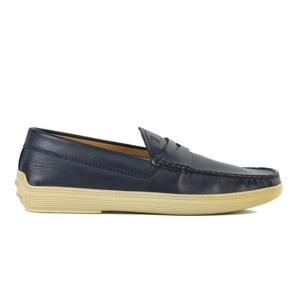 c87c072d35 Shop Tods Mens Navy Blue Leather Penny Bar Boat Shoes Sz UK 6.5/ U7 ...