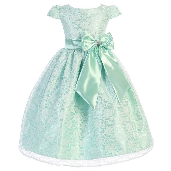 e0252d984 Shop Little Girls Mint Lace Overlay Satin Bow Cap Sleeve Flower Girl Dress  - Free Shipping On Orders Over $45 - Overstock - 18165564