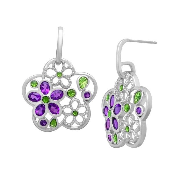 1 7/8 ct Amethyst Flower Drop Earrings in Sterling Silver