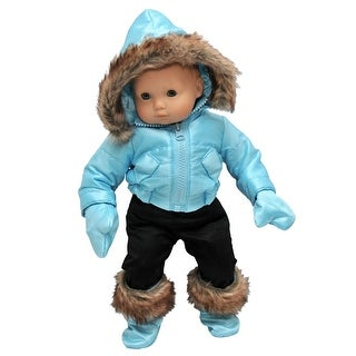 """15"""" Doll Clothes for American Girl Bitty Baby & Twins Blue Snow Suit Jacket, Pants, mittens & Boots"""