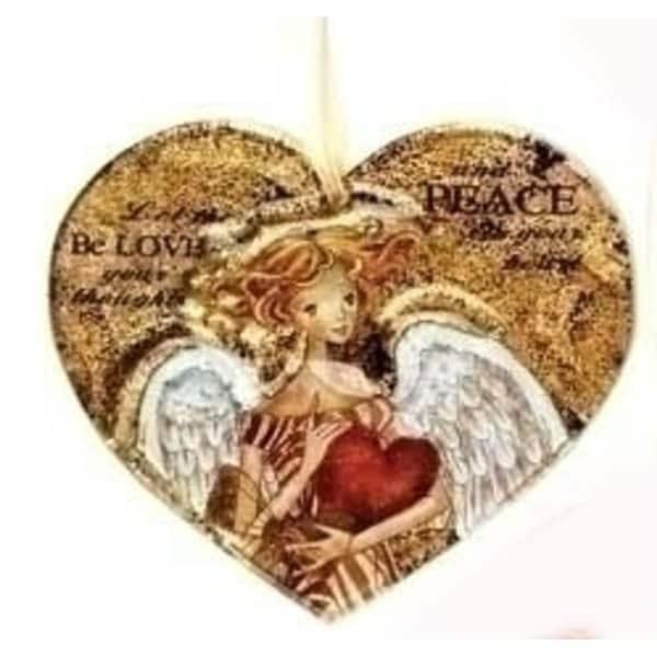 "4.5"" Royal Symphony Inspirational Rustic Heart Angel Glass Christmas Ornament"