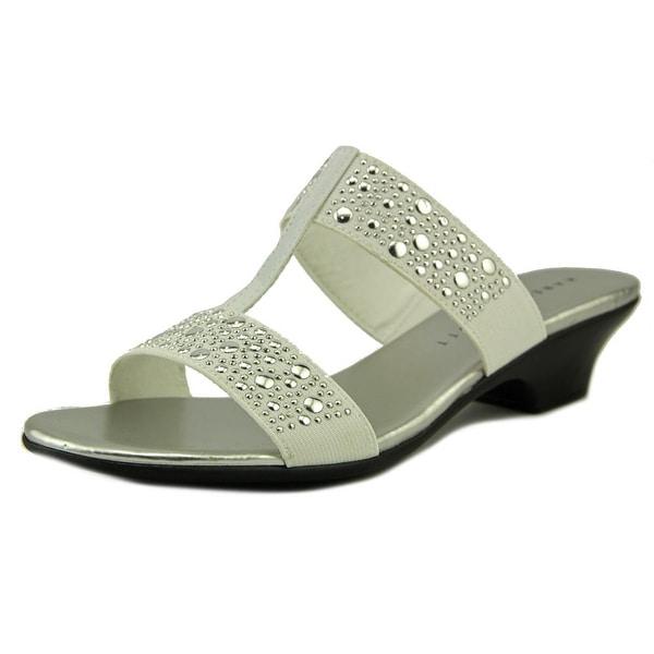 Karen Scott Eddina Women Open Toe Leather White Slides Sandal