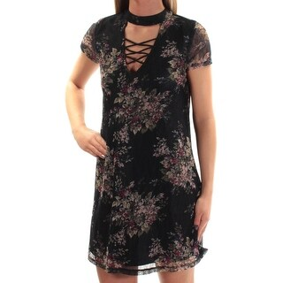 Womens Navy Floral Short Sleeve Above The Knee Shift Dress Size: 2XS