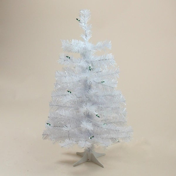"2' x 12"" Pre-Lit Slim White Tinsel Artificial Christmas Tree - Green Lights"