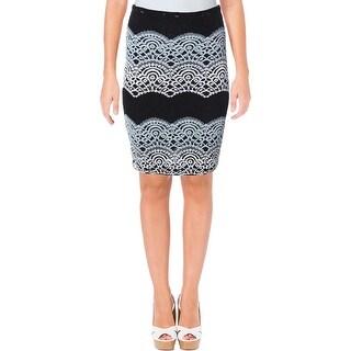 Aqua Womens Pencil Skirt Lace Layered