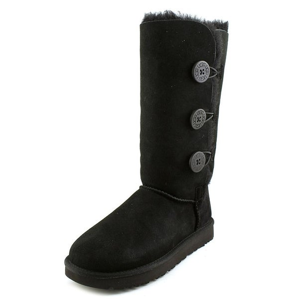 Ugg Australia Bailey Button Triplet ll Women Round Toe Suede Black Winter Boot