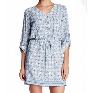 Max Studio NEW Blue Women's Size Medium M Drawstring Shirt Dress