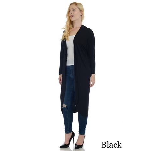 Simply Ravishing Dolman Long Sleeve Full Length Open Cardigan (Size: S-5X)