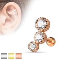 3 Round CZ Set 316L Surgical Steel Cartilage/Tragus Barbell (Sold Ind.)