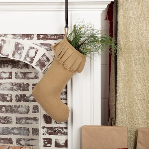 Festive Burlap Ruffled Stocking