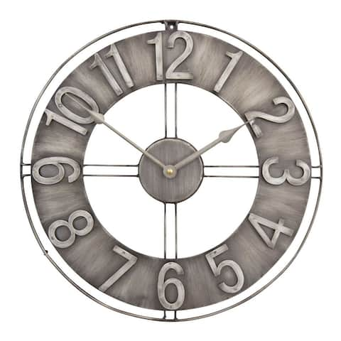"""Offex Home 15"""" Industrial Loft Wall Clock - Brushed Steel - 15""""W x 15""""D x 1.5""""H"""