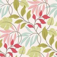 Brewster 2535-20629 Eden Pink Modern Leaf Trail Wallpaper