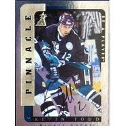 Signed Todd Kevin Anaheim Mighty Ducks 1997 Pinnacle Be A Player Hockey Card autographed
