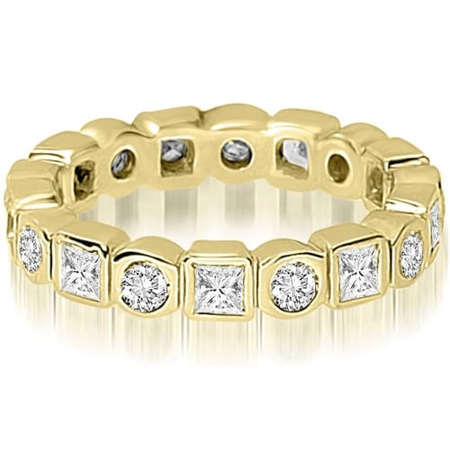 1.45 cttw. 14K Yellow Gold Round and Princess Diamond Eternity Ring