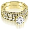 1.38 cttw. 14K Yellow Gold Antique Milgrain Round Cut Diamond Bridal Set - Thumbnail 0