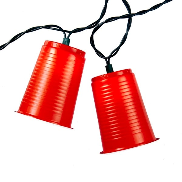 Set of 10 Red Party Cup Patio and Christmas Lights - Green Wire