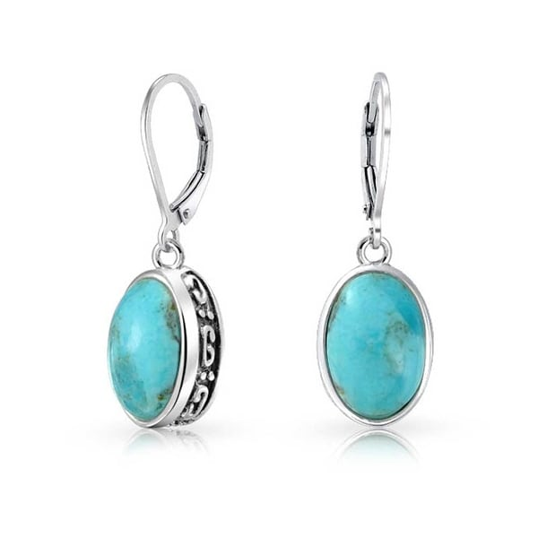 Bling Jewelry Teardrop Reconstituted Turquoise Sterling Silver Leverback Earrings Z9SbBIZ2Wf