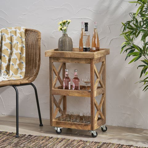 Hamer Mango Wood Trolley by Christopher Knight Home