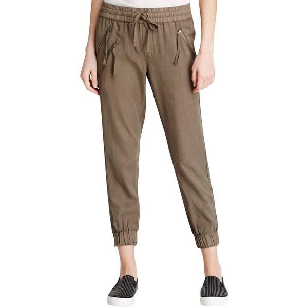 Pam & Gela Womens Petites Track Pants Tencel Cuffed Ankle - p