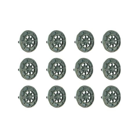 Set of 12 Cast Iron Nautical Compass Rose Cabinet Hardware Knobs Drawer Pulls - 2.25 X 2.25 X 1.25 inches