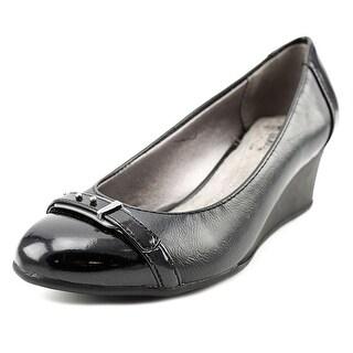 Life Stride Lingo Women  Open Toe Patent Leather Black Wedge Heel