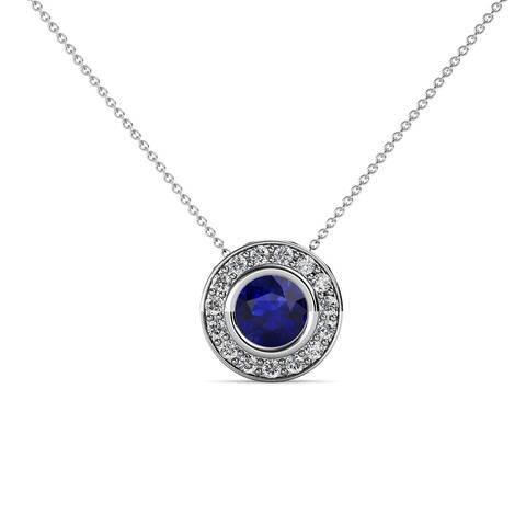 TriJewels Sapphire Diamond 5/8 ctw Halo Pendant Necklace 14K Gold