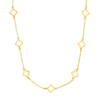 Marie Claire Clover Station Chain Necklace in 18K Gold-Plated Brass - Yellow