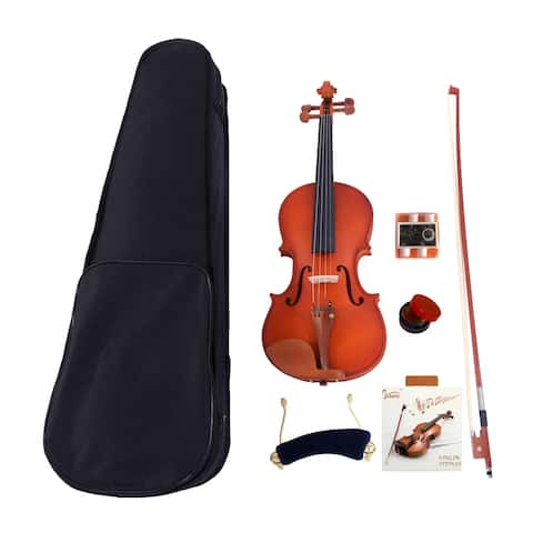 Glarry GV101 1/4 Acoustic Matt Violin Case Bow Rosin Strings