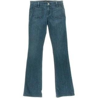 Sanctuary Womens Marianne Low-Rise Medium Wash Flare Jeans