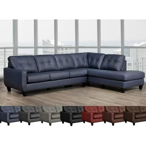 Gibson Top Grain Leather Tufted Sectional Sofa Right and Left Facing