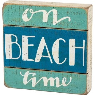 On Beach Time Blue and Teal Slatted Wood Box Sign 8 Inches Painted