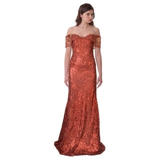 Rene Ruiz Off Shoulder Metallic Sequined Ball Evening Gown Dress - 2