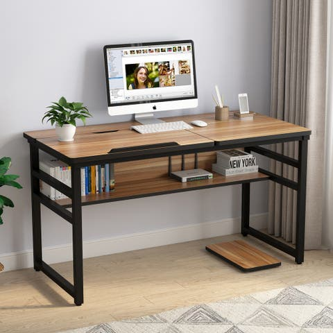 Computer Desk with Tiltable Board for Home Office