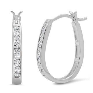 Amanda Rose 1/2ct tw Diamond Hoop Earrings in 10K White Gold