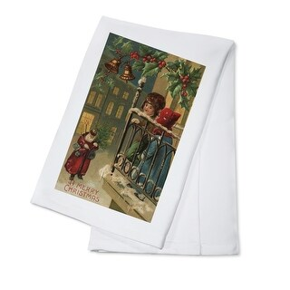 Christmas Greeting - Kids Watching Santa - Vintage Holiday Art (100% Cotton Towel Absorbent)