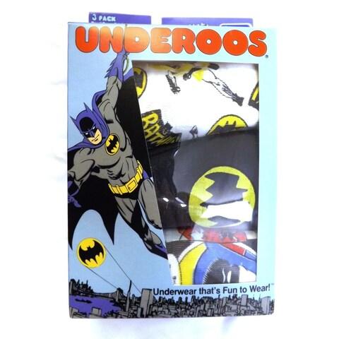 3 Pack Underoos Boys Boxer Briefs Spiderman Batman Justice League 100% Cotton