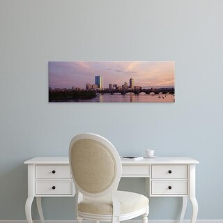 Easy Art Prints Panoramic Image 'Charles River, Back Bay, Longfellow Bridge, Boston, Massachusetts' Canvas Art