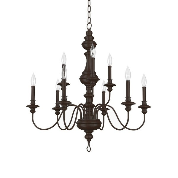 """Park Harbor PHHL6319 Cardiff 32"""" Wide 9 Light 2 Tier Shaded Style Chandelier with Candle Style Arms"""