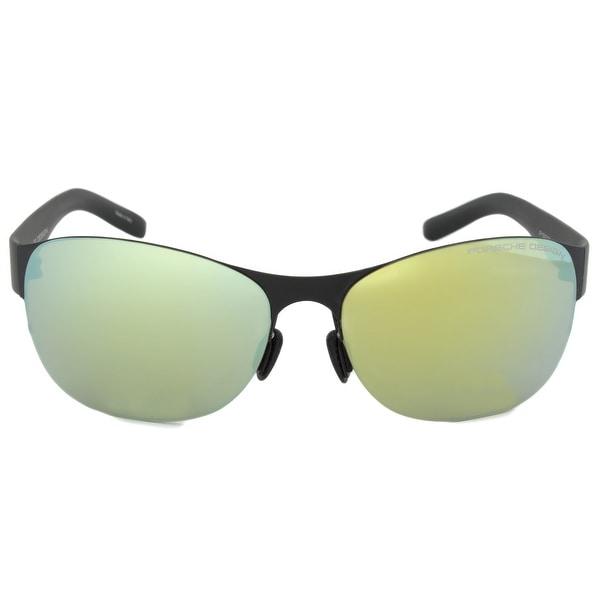 Porsche Design Design P8581 A Oval Sunglasses | Black Frame | Green Lens - 61mm x 15mm x 135mm. Opens flyout.