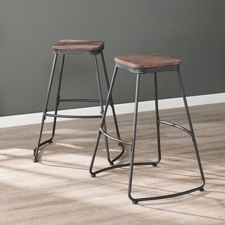 Link to Carbon Loft Raymer Industrial Black Metal Barstools (Set of 2) Similar Items in Dining Room & Bar Furniture