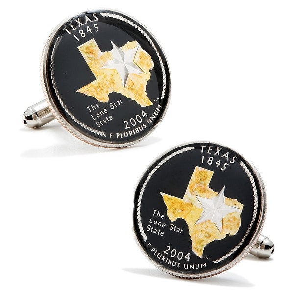 Hand Painted Texas State Quarter Cufflinks