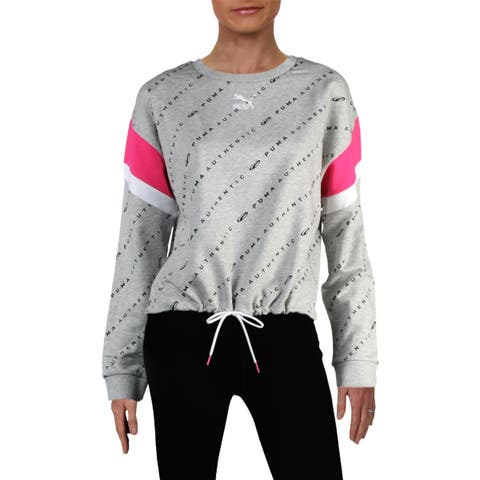 Puma Womens 90s Retro AOP Sweatshirt Athletic Fitness